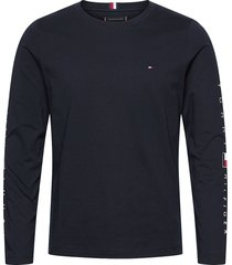 essential tommy ls tee t-shirts long-sleeved blå tommy hilfiger
