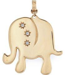 'elephant' diamond 14k yellow gold bracelet charm - large