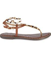 geena leopard calf hair & leather thong sandals