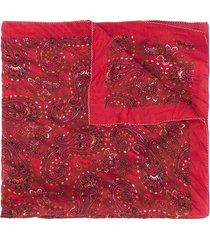 acne studios paisley-print square bandana - red