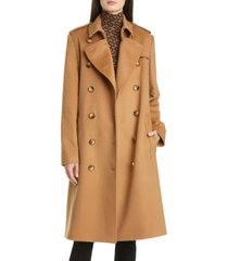 women's burberry kensington cashmere heritage trench coat, size 8 - brown
