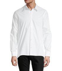 helmut lang men's laced cotton button front shirt - white - size m