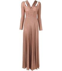 elisabetta franchi lurex-detailed slit-skirt dress - gold