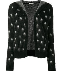 saint laurent baja court star patterned cardigan - black