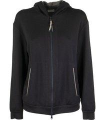 brunello cucinelli stretch silk cotton lightweight french terry sweatshirt navy
