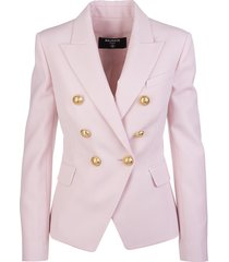 balmain woman pink wool blazer with gold embossed buttons