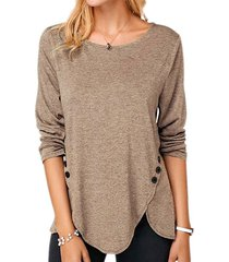 buttoned slit long sleeve tunic tee