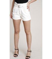short de sarja feminino clochard com cinto barra dobrada off white