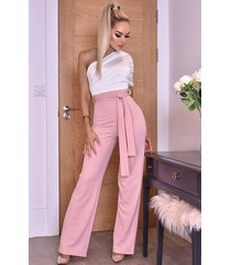 ctw dior one shoulder ruched jumpsuit roze