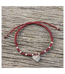 silver charm bracelet, 'ancient heart in red' (thailand)