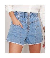 short clochard jeans marmorizado com zíper cintura super alta azul claro