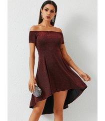 yoins burgundy glitter off the shoulder short sleeves dress