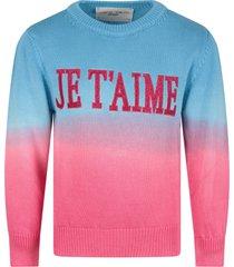 alberta ferretti light blue and fuchsia sweater for girl with fuchsia writing