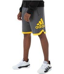 bermuda adidas sport bos - masculina - cinza esc/amarel esc