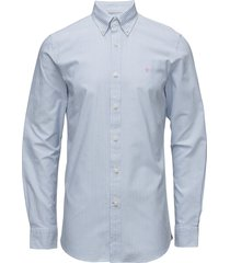 oxford striped button down overhemd business blauw morris