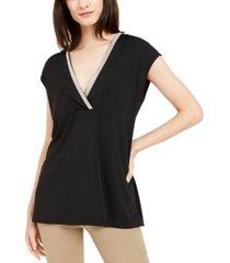 alfani embellished v-neck top, created for macy's