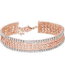 bracciale con strass in metallo rosato per donna