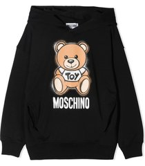 moschino black stretch cotton hoodie