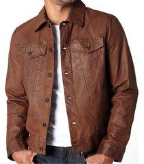 handmade men black vintage leather jacket with button closure