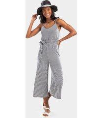 avelle striped side knot jumpsuit - black/white