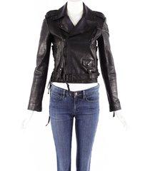 unravel project black leather zipped biker jacket black sz: s