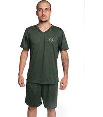 pijama bella fiore modas masculino liso manga curta verde escuro - verde - masculino - poliã©ster - dafiti