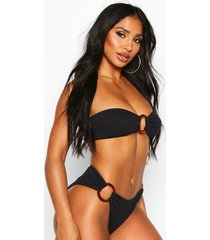 crinkle tortoise shell ring bandeau high leg bikini, black