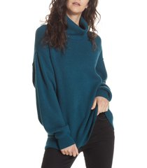 women's free people softly structured knit tunic, size large - blue/green