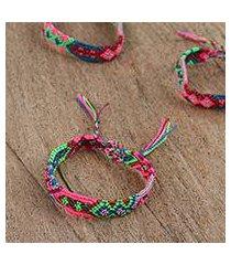 cotton braided wristband bracelets, 'festival colors' (set of 3) (mexico)