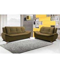 conjunto sofá 2 e 3 lugares escócia 2,07 mts e 1,60 mts com pés em metal cromado, tecido suede amassado café