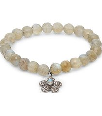tonal labradorite & pavé diamond beaded charm bracelet