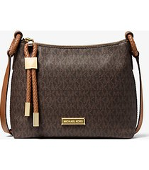 mk borsa a tracolla lexington grande con logo - marrone/cuoio (marrone) - michael kors