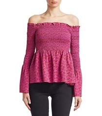 agra ruched off-the-shoulder bell-sleeve peplum top