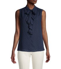 tommy hilfiger women's dotted tie-neck sleeveless blouse - scarlet - size s