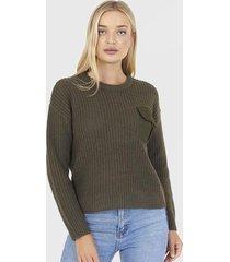 sweater brave soul verde - calce regular