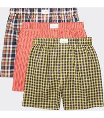tommy hilfiger men's cotton classics woven boxer 3pk yellow/orange/blue - xl