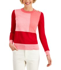 charter club colorblocked button-detail sweater, created for macy's