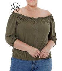 blusa manga 3/4 plus size feminino autentique