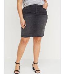lane bryant women's washed black denim skirt - exposed button fly 28 black denim