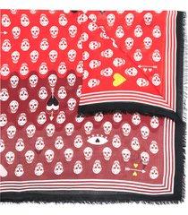 alexander mcqueen skull-print frayed scarf - red