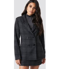 dilara x na-kd double button checked blazer - grey