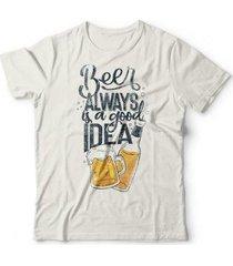 camiseta beer good idea - unissex