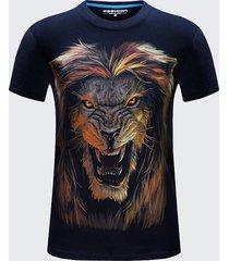 t-shirt da uomo di grandi dimensioni per l'estate cool top tees in cotone a maniche corte con stampa 3d lion