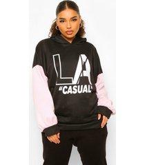 plus oversized la casual hoodie, black