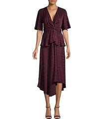tonal striped silk asymmetrical dress