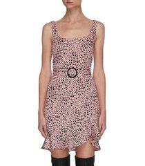 christabel' leopard print square neck satin mini dress