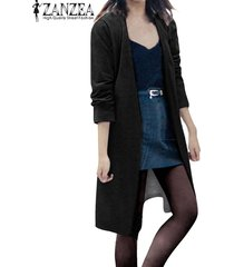 zanzea manera de las mujeres de manga larga casual cardigan largo flojo de la chaqueta de la capa de foso parka superior (negro) -negro