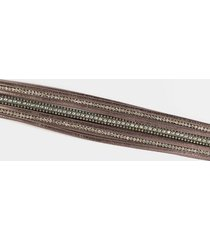 emma leather thick wrap bracelet - gray