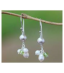 cultured pearl and peridot dangle earrings, 'snow drops' (indonesia)