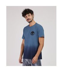camiseta masculina degradê manga curta gola careca azul
